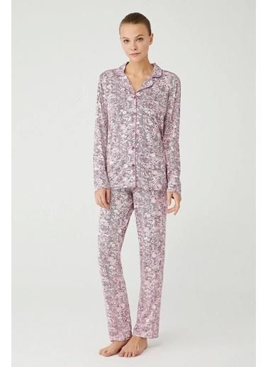Mod Collection Kadın Boydan Patlı Pijama Takımı Pembe